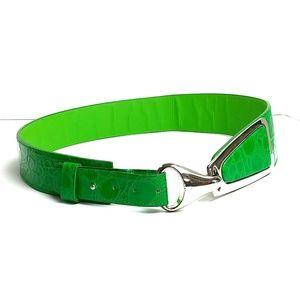 Faux Snake Skin Green Belt Silver Color Buckle